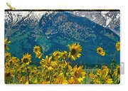 Tetons Peaks And Flowers Left Panel Carry-all Pouch