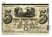 Texas Banknote, 1840 Carry-all Pouch