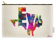 Texas Typographic Watercolor Flag Carry-all Pouch