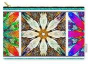 Textured Flower Kaleidoscope Triptych Carry-all Pouch