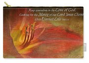 Textured Red Daylily With Verse Carry-all Pouch