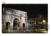 The Arch Of Constantine And The Colosseum At Night Carry-all Pouch