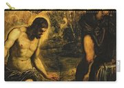 The Baptism Of Christ Carry-all Pouch by Jacopo Robusti Tintoretto