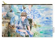 The Beatles At The Sea - Watercolor Portrait Carry-all Pouch