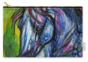 The Blue Horse On Green Background Carry-all Pouch