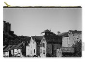 The Castle Above The Village Panorama In Black Nd White Carry-all Pouch