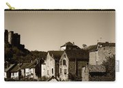 The Castle Above The Village Panorama In Sepia Carry-all Pouch