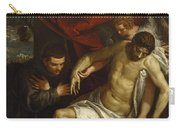 The Dead Christ Supported By An Angel And Adored By A Franciscan Carry-all Pouch