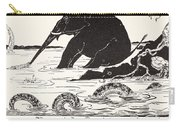 The Elephant's Child Having His Nose Pulled By The Crocodile Carry-all Pouch by Joseph Rudyard Kipling