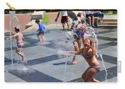 Joyful Young Girl Playing In Fountain Carry-all Pouch