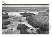The Jagged Rocks And Cliffs Of Montana De Oro State Park In California In Black And White Carry-all Pouch