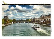 The River Seine Paris France Digital Water Color Carry-all Pouch