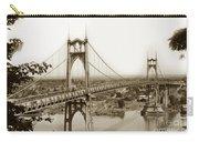 The St. Johns Bridge Is A Steel Suspension Bridge That Spans The Willamette River Carry-all Pouch