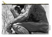 The Thinker In Black And White Carry-all Pouch