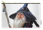 The Wizard And The Raven Carry-all Pouch by J W Baker