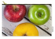 Thee Apples On A Table Carry-all Pouch