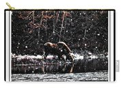 Thirsty Moose Impressionistic Painting With Borders Carry-all Pouch
