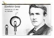 1880 Thomas Edison Electric Lamp Patent Art 2 Carry-all Pouch