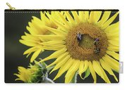 Three Bees On A Sunflower Carry-all Pouch