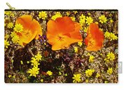 Three California Poppies Among Goldfields In Antelope Valley California Poppy Reserve Carry-all Pouch