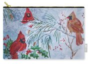 Three Cardinals In The Snow With Holly Carry-all Pouch