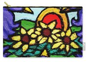 Three Crows And Sunflowers Carry-all Pouch by Genevieve Esson