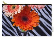 Three Daises In Striped Vase Carry-all Pouch