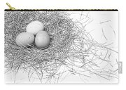 Three Eggs In A Nest Black And White Carry-all Pouch