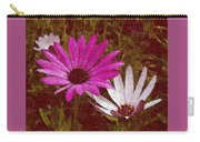 Three Flowers On Maroon Carry-all Pouch