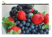 Three Fruit 2 - Strawberries - Blueberries - Blackberries Carry-all Pouch by Barbara Griffin