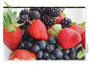 Three Fruit Closeup - Strawberries - Blueberries - Blackberries Carry-all Pouch by Barbara Griffin