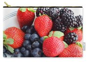 Three Fruit - Strawberries - Blueberries - Blackberries Carry-all Pouch by Barbara Griffin