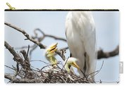 Three Great Egret Chicks In Nest Carry-all Pouch by Carol Groenen
