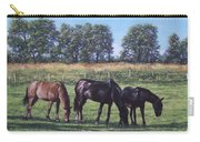 Three Horses In Field Carry-all Pouch by Martin Davey