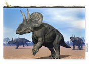Three Nedoceratops In The Desert Carry-all Pouch