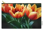 Three Orange And Red Tulips Carry-all Pouch