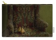 Three Pears Sitting In A Wing Chair Carry-all Pouch by Priska Wettstein
