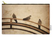 Three Pigeons Perched On A Metallic Arch. Carry-all Pouch