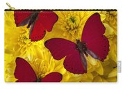 Three Red Butterflys Carry-all Pouch by Garry Gay