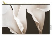 Three Tall Calla Lilies In Sepia Carry-all Pouch