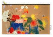 Three Vases Of Flowers Carry-all Pouch by Odilon Redon