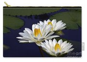 Three White Tropical Water Lilies Version 2 Carry-all Pouch