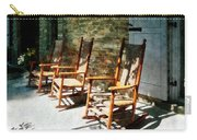 Three Wooden Rocking Chairs On Sunny Porch Carry-all Pouch