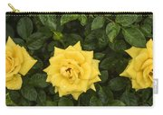 Three Yellow Roses In Rain Carry-all Pouch