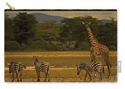 Three Zebras And A Giraffe Carry-all Pouch