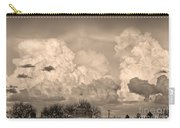 Thunderstorm Clouds And The Little House On The Prairie Sepia Carry-all Pouch