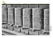 Tibetan Prayer Wheels - Black And White Carry-all Pouch