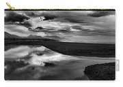 Tidal Pond Sunset New Zealand In Black And White Carry-all Pouch