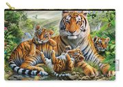 Tiger And Cubs Carry-all Pouch by Adrian Chesterman