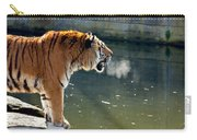 Tiger Breathing Into Cold Air By The Water Carry-all Pouch